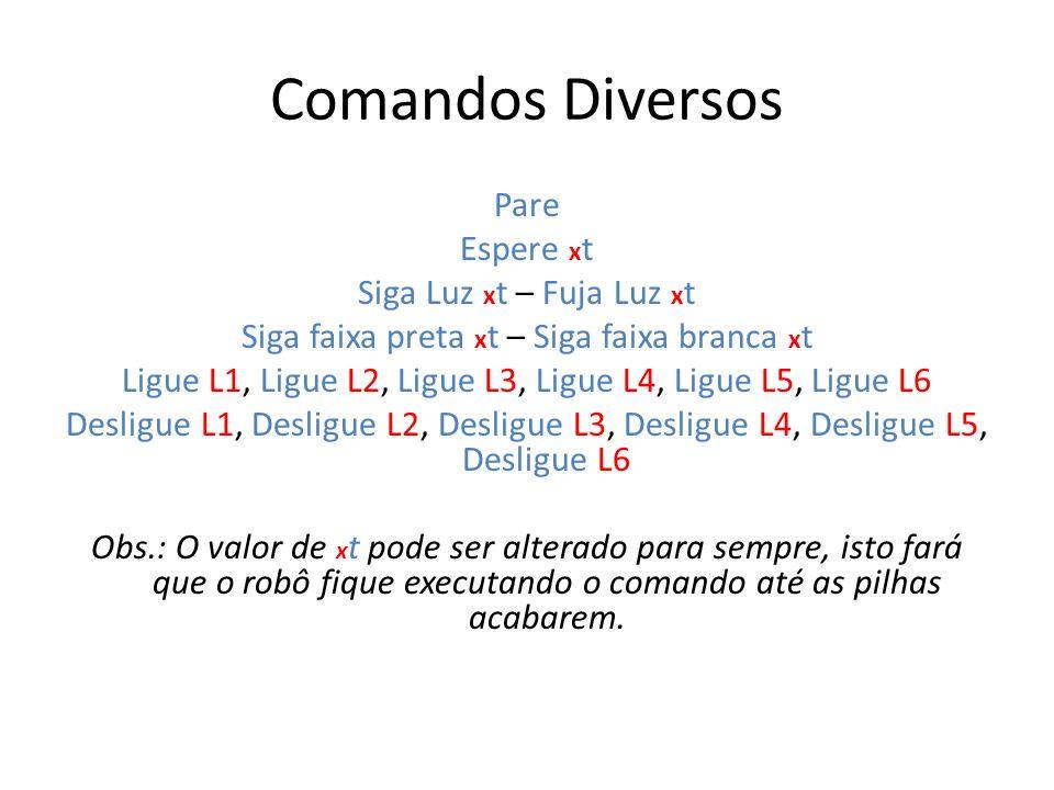 Comandos Diversos Pare Espere x t Siga Luz x t – Fuja Luz x t Siga faixa preta x t – Siga faixa branca x t Ligue L1, Ligue L2, Ligue L3, Ligue L4, Lig
