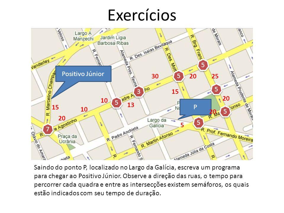 Exercícios Positivo Júnior P Saindo do ponto P, localizado no Largo da Galícia, escreva um programa para chegar ao Positivo Júnior. Observe a direção