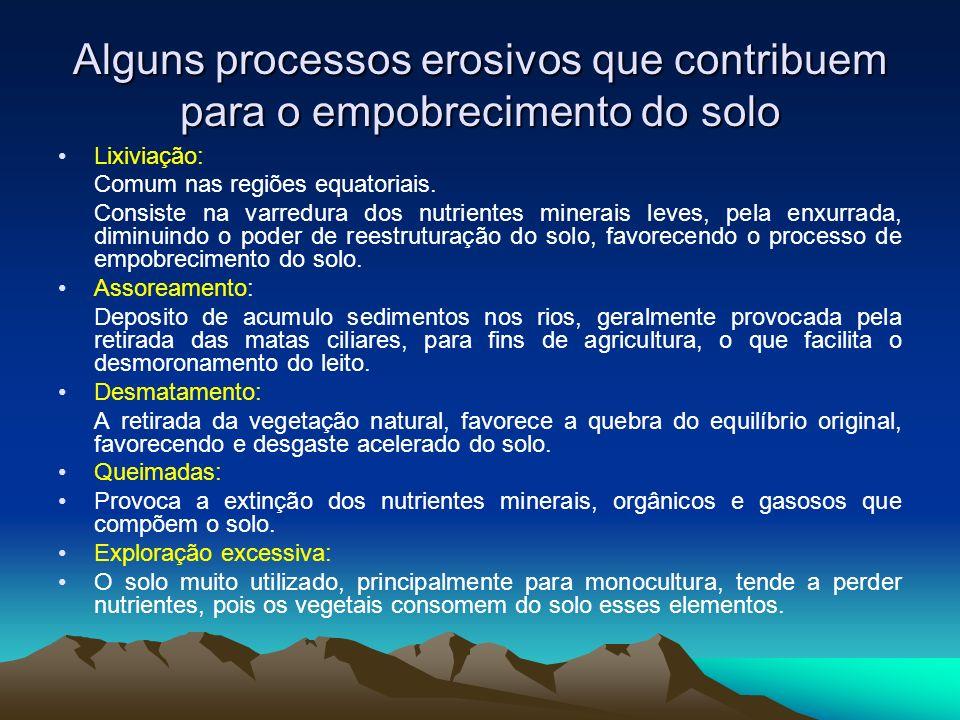 Alguns processos erosivos que contribuem para o empobrecimento do solo Lixiviação: Comum nas regiões equatoriais. Consiste na varredura dos nutrientes