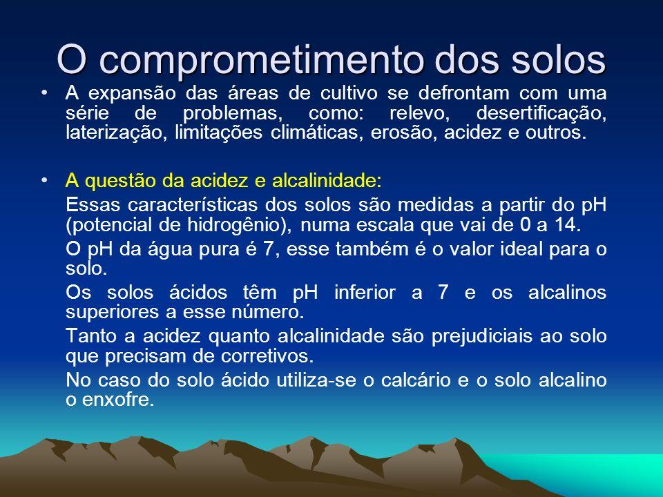 O comprometimento dos solos A expansão das áreas de cultivo se defrontam com uma série de problemas, como: relevo, desertificação, laterização, limita