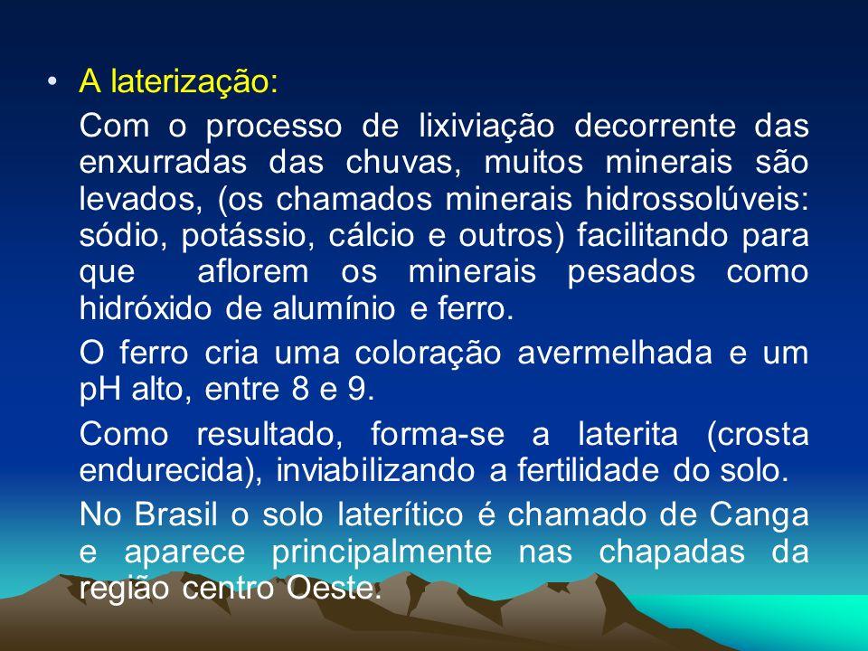 A laterização: Com o processo de lixiviação decorrente das enxurradas das chuvas, muitos minerais são levados, (os chamados minerais hidrossolúveis: s