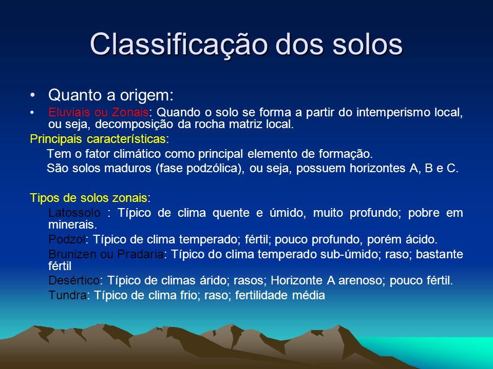 Classificação dos solos Quanto a origem: Eluviais ou Zonais: Quando o solo se forma a partir do intemperismo local, ou seja, decomposição da rocha mat