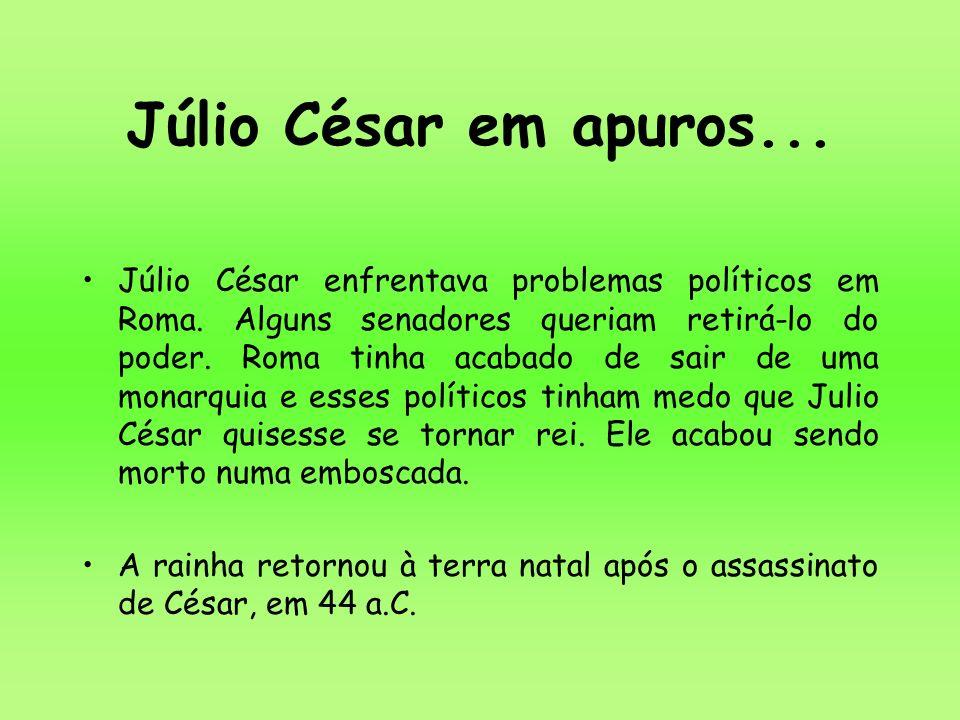 Júlio César enfrentava problemas políticos em Roma. Alguns senadores queriam retirá-lo do poder. Roma tinha acabado de sair de uma monarquia e esses p