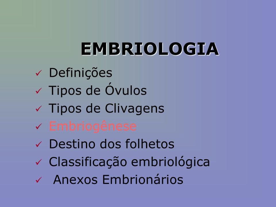 EMBRIOLOGIA Definições Tipos de Óvulos Tipos de Clivagens Embriogênese Destino dos folhetos Classificação embriológica Anexos Embrionários