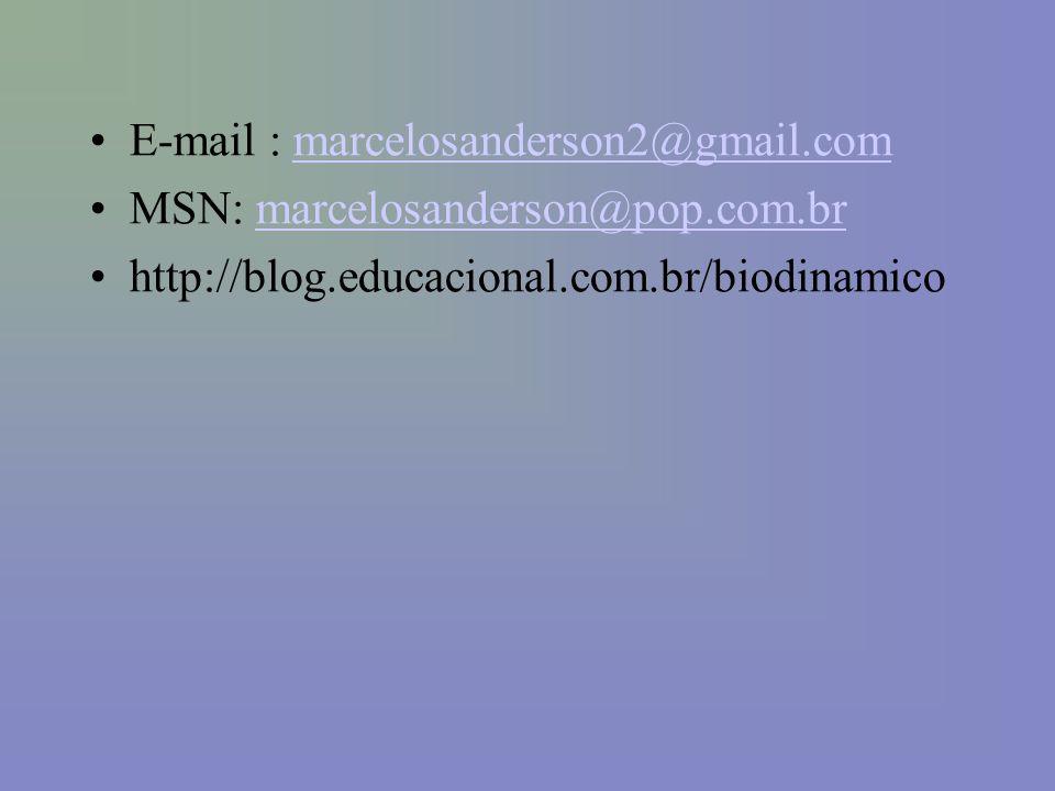 E-mail : marcelosanderson2@gmail.commarcelosanderson2@gmail.com MSN: marcelosanderson@pop.com.brmarcelosanderson@pop.com.br http://blog.educacional.com.br/biodinamico