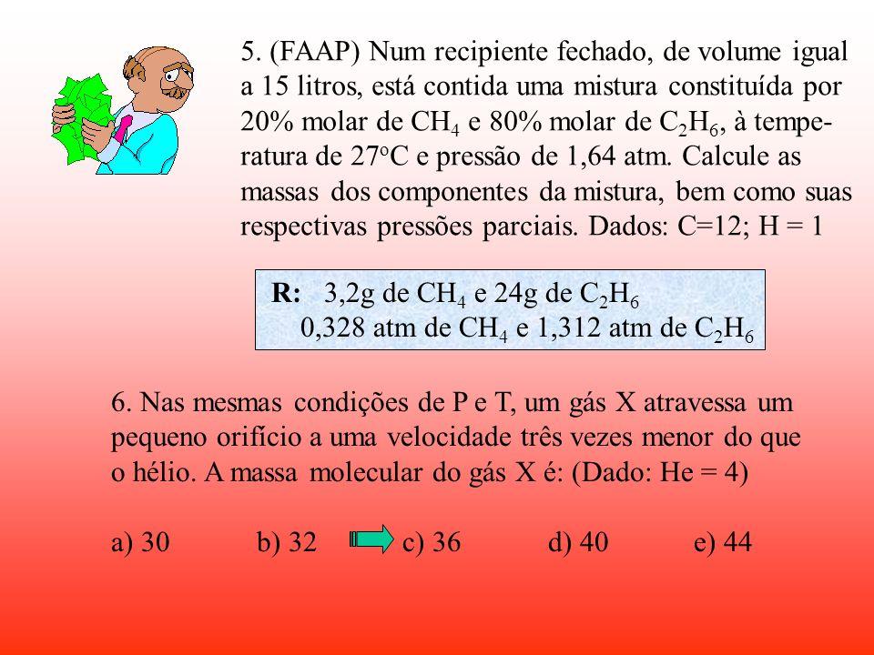 3. Um extintor de incêndio contém 4,4kg de CO 2. Qual o volume máximo de gás liberado na atmos- fera, a 1atm e -173 o C? (C=12; O=16) 4. 240 g de um c