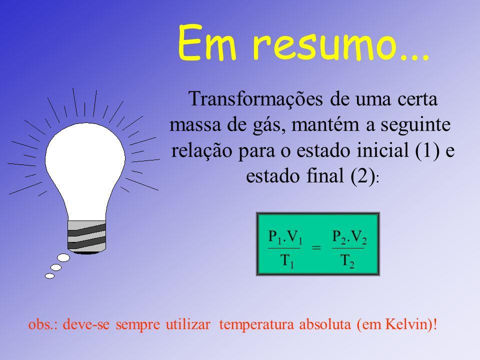 TRANFORMAÇÕES GASOSAS ISOTÉRMICA (Lei de Boyle) V 1 V 2 P 1 P 2 V P 1 2 P P (1) (2) V 1 V 2 2 1 P 1.V 1 = P 2.V 2 Isoterma ISOBÁRICA (Lei de Gay-Lussa