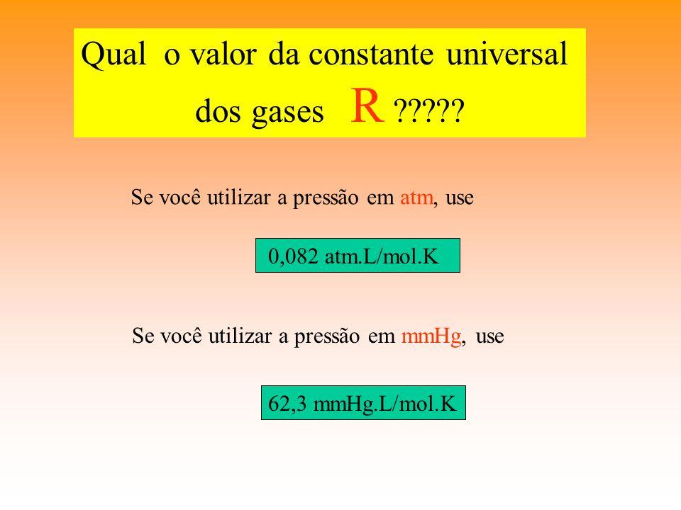EQUAÇÃO DE CLAPEYRON Sabemos que as variáveis de estado de um gás mantêm uma relação sempre constante: P. V T = constante T Se n = 1 mol de gás, temos