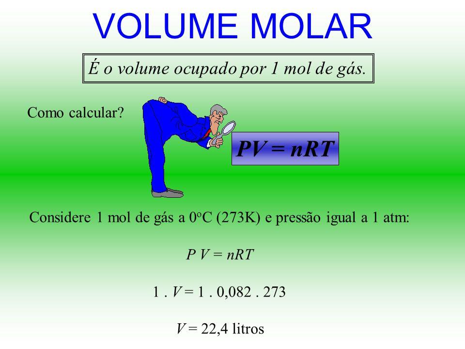 Qual o valor da constante universal dos gases R ????? Se você utilizar a pressão em atm, use Se você utilizar a pressão em mmHg, use 0,082 atm.L/mol.K
