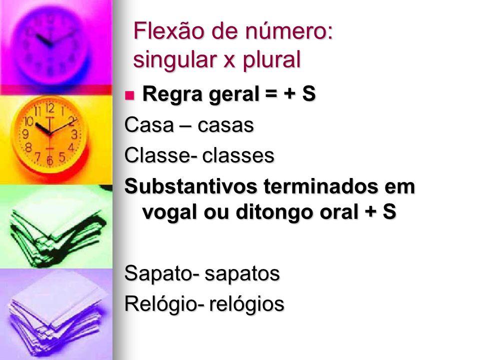 Flexão de número: singular x plural Regra geral = + S Regra geral = + S Casa – casas Classe- classes Substantivos terminados em vogal ou ditongo oral