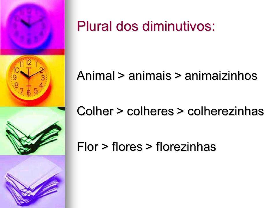 Plural dos diminutivos: Animal > animais > animaizinhos Colher > colheres > colherezinhas Flor > flores > florezinhas