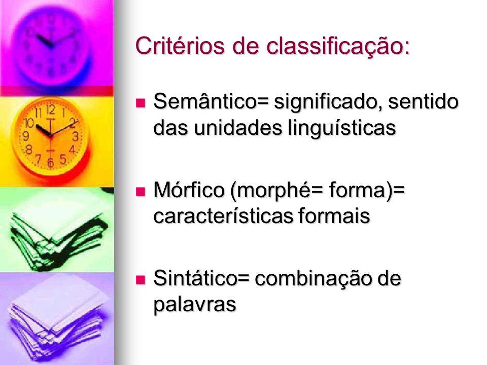 Critérios de classificação: Semântico= significado, sentido das unidades linguísticas Semântico= significado, sentido das unidades linguísticas Mórfic
