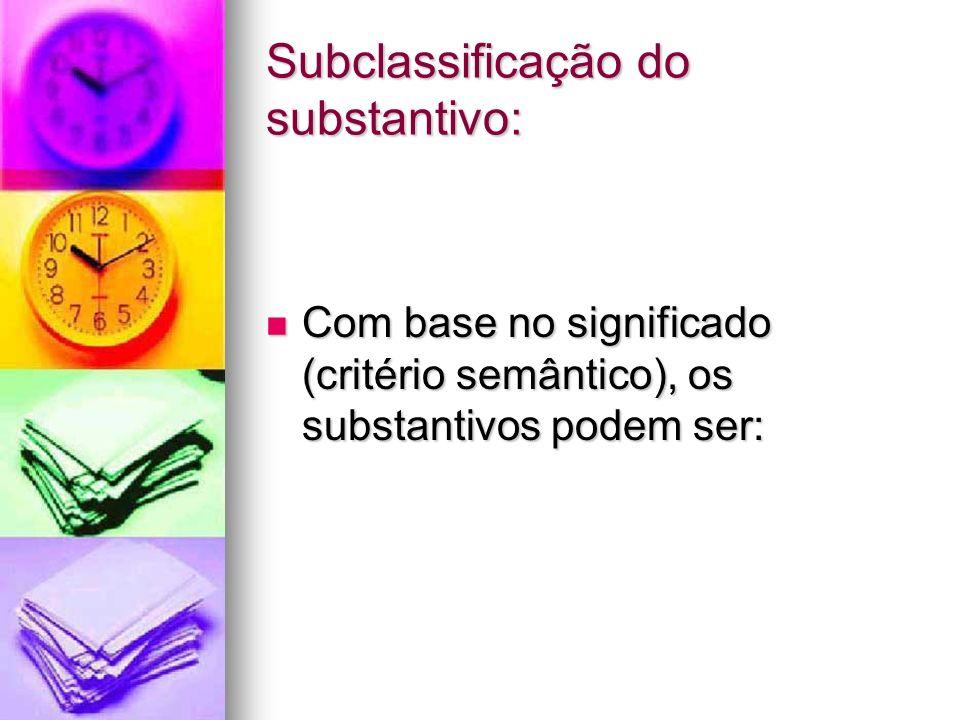 Subclassificação do substantivo: Com base no significado (critério semântico), os substantivos podem ser: Com base no significado (critério semântico)