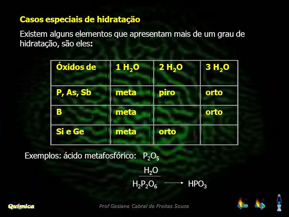Casos especiais de hidratação Existem alguns elementos que apresentam mais de um grau de hidratação, são eles: Óxidos de1 H 2 O2 H 2 O3 H 2 O P, As, S