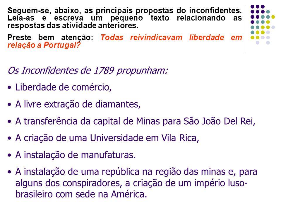 Os Inconfidentes de 1789 propunham: Liberdade de comércio, A livre extração de diamantes, A transferência da capital de Minas para São João Del Rei, A