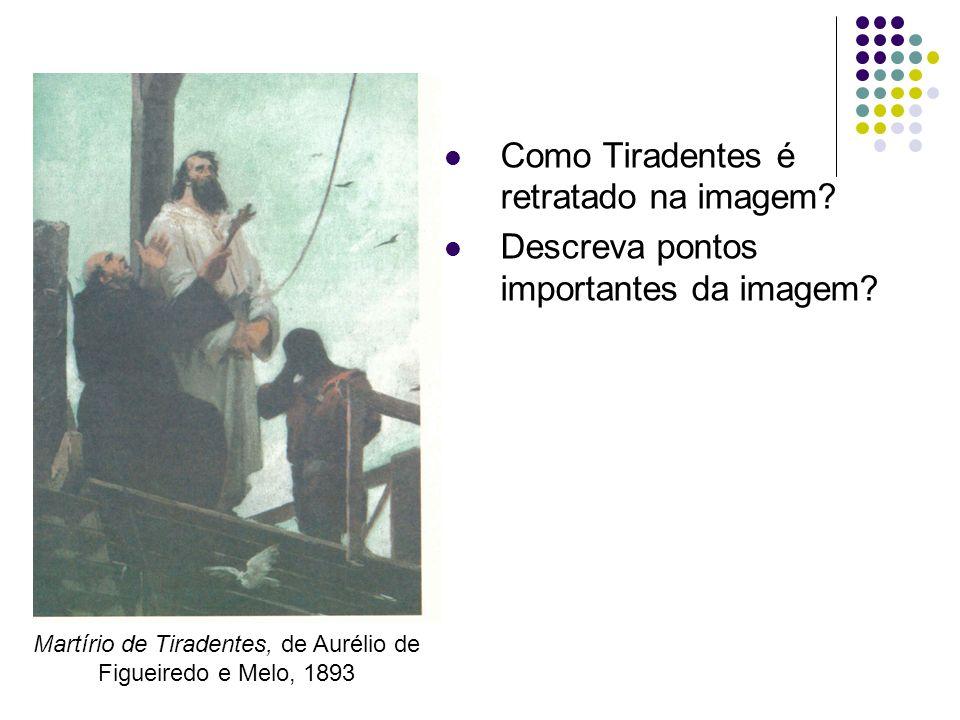 Como Tiradentes é retratado na imagem? Descreva pontos importantes da imagem? Martírio de Tiradentes, de Aurélio de Figueiredo e Melo, 1893