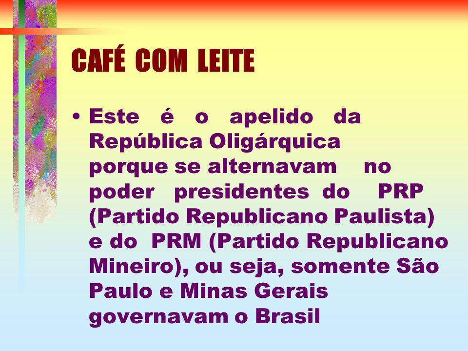 CAFÉ COM LEITE Este é o apelido da República Oligárquica porque se alternavam no poder presidentes do PRP (Partido Republicano Paulista) e do PRM (Partido Republicano Mineiro), ou seja, somente São Paulo e Minas Gerais governavam o Brasil