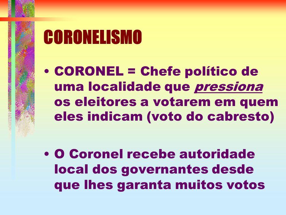 CORONELISMO CORONEL = Chefe político de uma localidade que pressiona os eleitores a votarem em quem eles indicam (voto do cabresto) O Coronel recebe autoridade local dos governantes desde que lhes garanta muitos votos