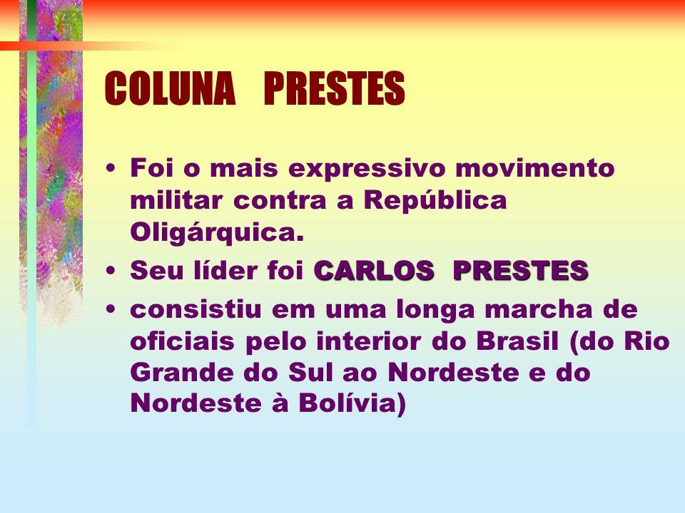 COLUNA PRESTES Foi o mais expressivo movimento militar contra a República Oligárquica. CARLOS PRESTESSeu líder foi CARLOS PRESTES consistiu em uma lon