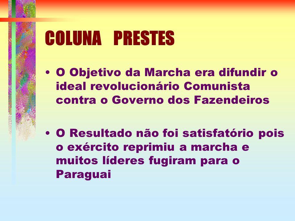 COLUNA PRESTES O Objetivo da Marcha era difundir o ideal revolucionário Comunista contra o Governo dos Fazendeiros O Resultado não foi satisfatório pois o exército reprimiu a marcha e muitos líderes fugiram para o Paraguai