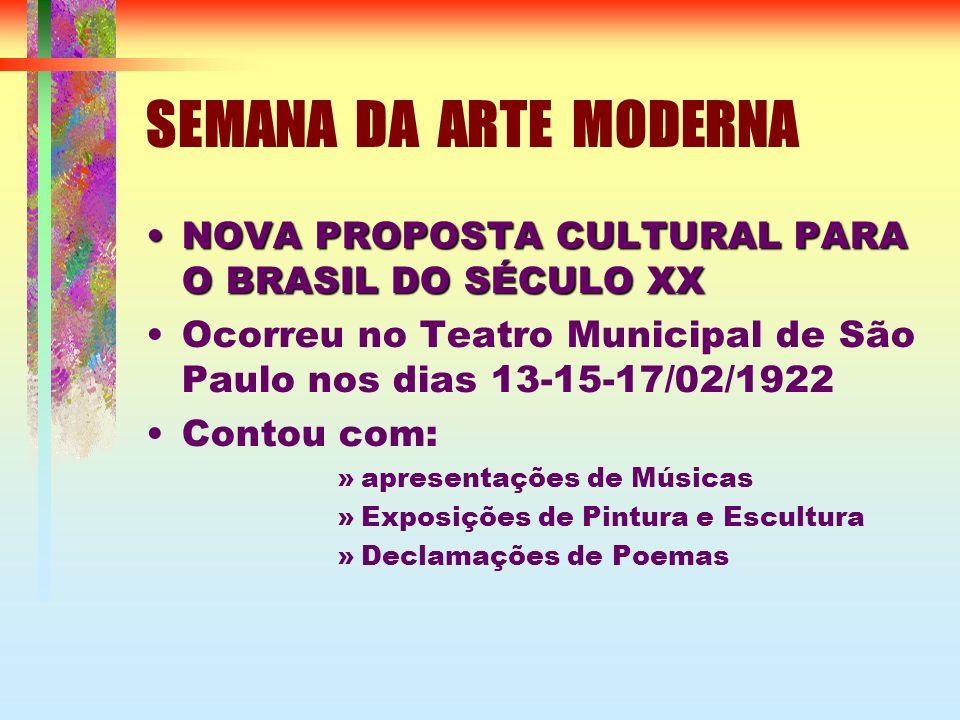 SEMANA DA ARTE MODERNA NOVA PROPOSTA CULTURAL PARA O BRASIL DO SÉCULO XXNOVA PROPOSTA CULTURAL PARA O BRASIL DO SÉCULO XX Ocorreu no Teatro Municipal de São Paulo nos dias 13-15-17/02/1922 Contou com: »apresentações de Músicas »Exposições de Pintura e Escultura »Declamações de Poemas