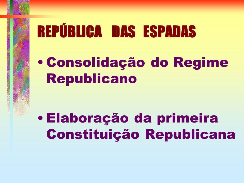 REPÚBLICA DAS ESPADAS Consolidação do Regime Republicano Elaboração da primeira Constituição Republicana
