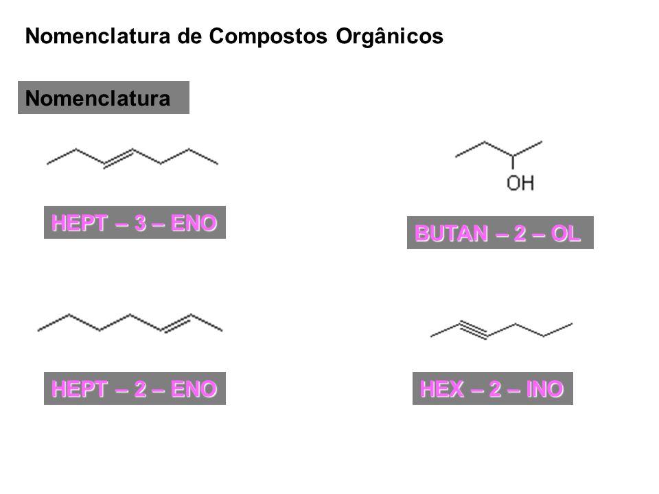 Nomenclatura de Compostos Orgânicos Nomenclatura HEPT – 3 – ENO HEPT – 2 – ENO HEX – 2 – INO BUTAN – 2 – OL