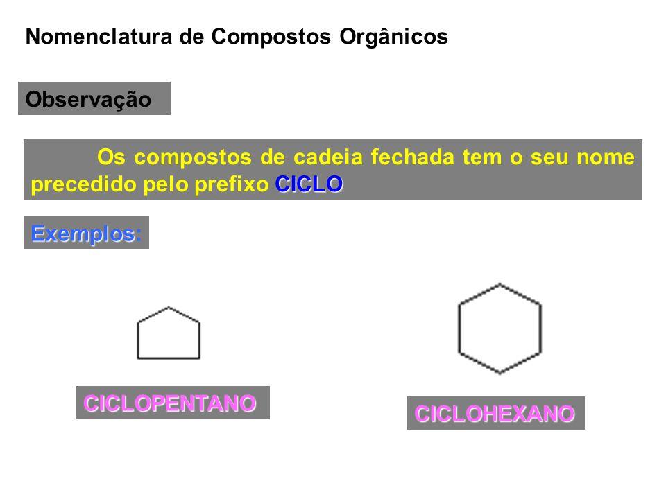 Nomenclatura de Compostos Orgânicos Observação CICLO Os compostos de cadeia fechada tem o seu nome precedido pelo prefixo CICLO Exemplos Exemplos: CIC