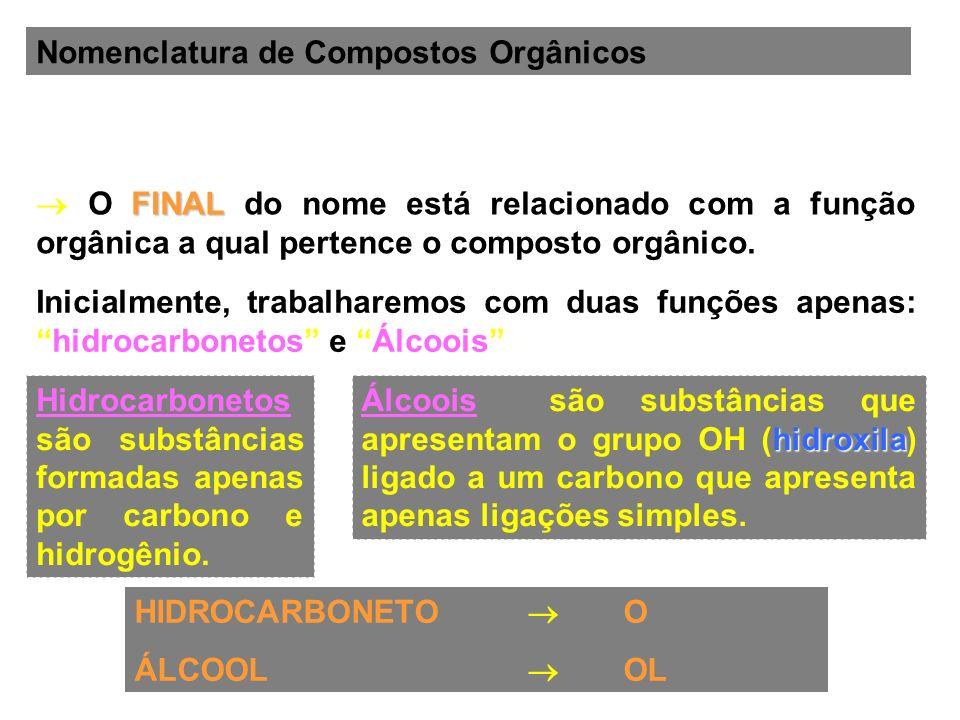 Nomenclatura de Compostos Orgânicos FINAL O FINAL do nome está relacionado com a função orgânica a qual pertence o composto orgânico. HIDROCARBONETO O