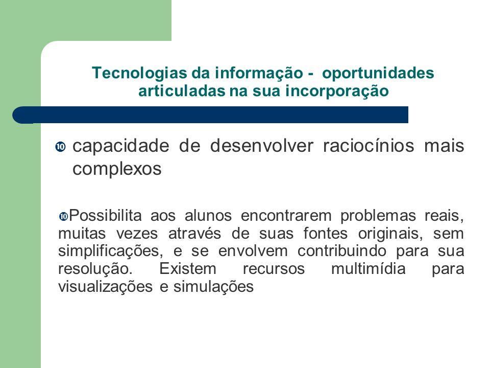 Tecnologias da informação - oportunidades articuladas na sua incorporação capacidade de desenvolver raciocínios mais complexos Possibilita aos alunos