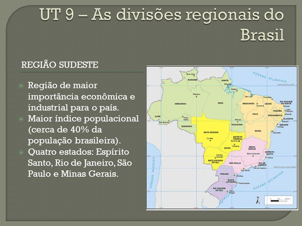 REGIÃO SUDESTE Região de maior importância econômica e industrial para o país.