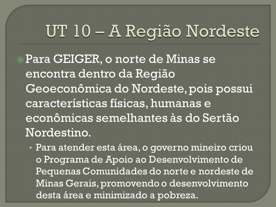 Para GEIGER, o norte de Minas se encontra dentro da Região Geoeconômica do Nordeste, pois possui características físicas, humanas e econômicas semelhantes às do Sertão Nordestino.
