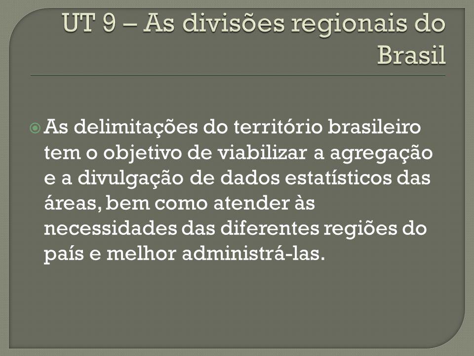 As delimitações do território brasileiro tem o objetivo de viabilizar a agregação e a divulgação de dados estatísticos das áreas, bem como atender às necessidades das diferentes regiões do país e melhor administrá-las.