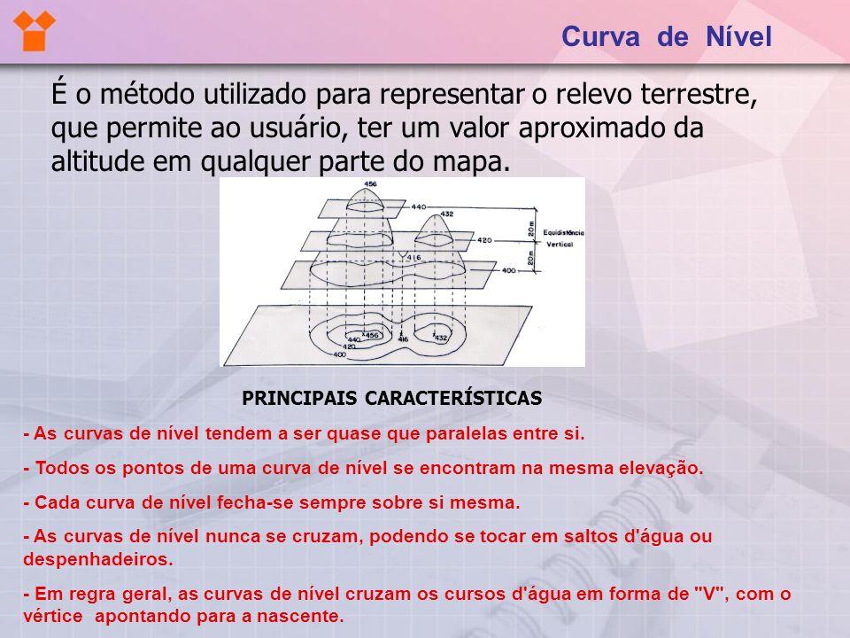 Curva de Nível É o método utilizado para representar o relevo terrestre, que permite ao usuário, ter um valor aproximado da altitude em qualquer parte
