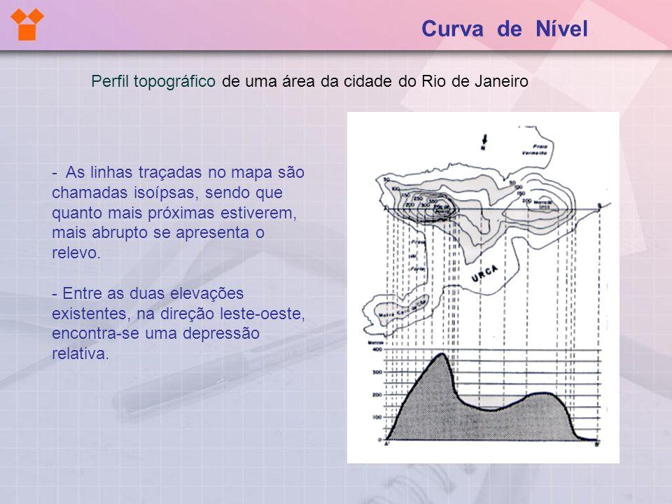 Perfil topográfico de uma área da cidade do Rio de Janeiro - As linhas traçadas no mapa são chamadas isoípsas, sendo que quanto mais próximas estivere