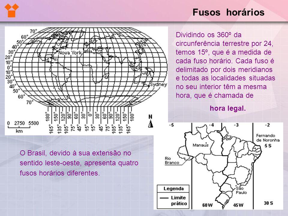 O Brasil, devido à sua extensão no sentido leste-oeste, apresenta quatro fusos horários diferentes. Dividindo os 360º da circunferência terrestre por