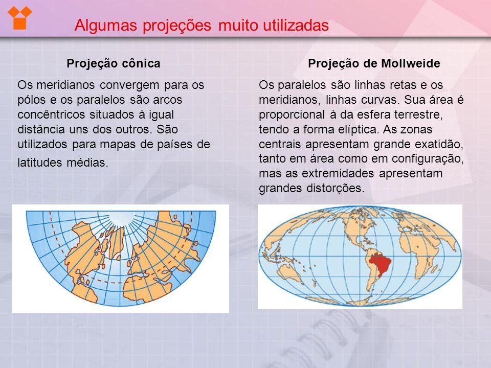 Projeção cônica Os meridianos convergem para os pólos e os paralelos são arcos concêntricos situados à igual distância uns dos outros. São utilizados