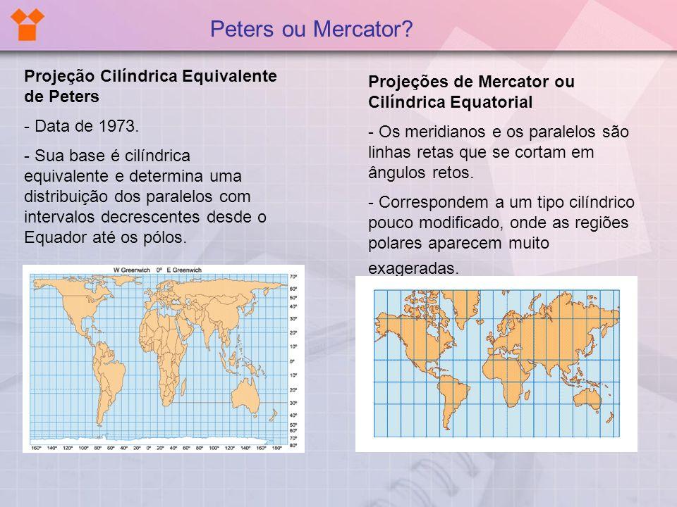 Projeção Cilíndrica Equivalente de Peters - Data de 1973. - Sua base é cilíndrica equivalente e determina uma distribuição dos paralelos com intervalo