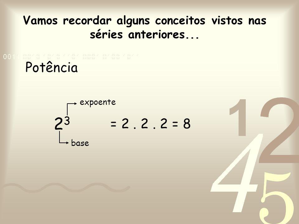 Vamos recordar alguns conceitos vistos nas séries anteriores... Potência 2323 base expoente = 2. 2. 2 = 8
