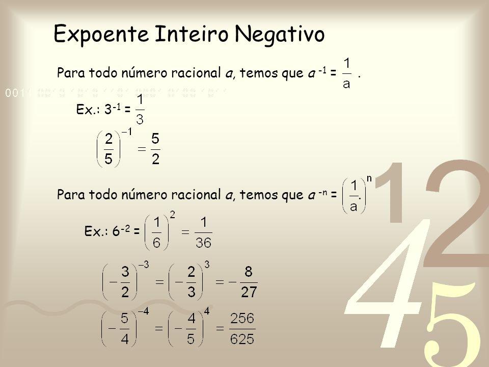 Expoente Inteiro Negativo Para todo número racional a, temos que a -1 =. Ex.: 3 -1 = Para todo número racional a, temos que a -n =. Ex.: 6 -2 =