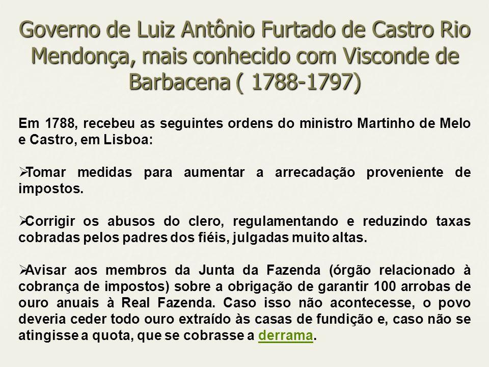 Em 1788, recebeu as seguintes ordens do ministro Martinho de Melo e Castro, em Lisboa: Tomar medidas para aumentar a arrecadação proveniente de impost