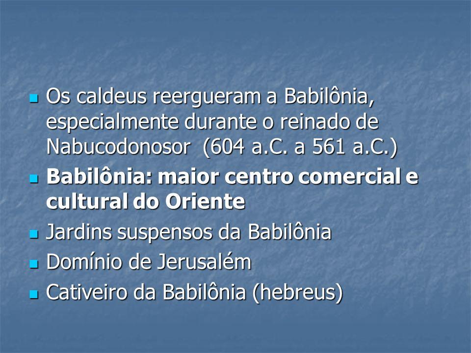 Os caldeus reergueram a Babilônia, especialmente durante o reinado de Nabucodonosor (604 a.C. a 561 a.C.) Os caldeus reergueram a Babilônia, especialm