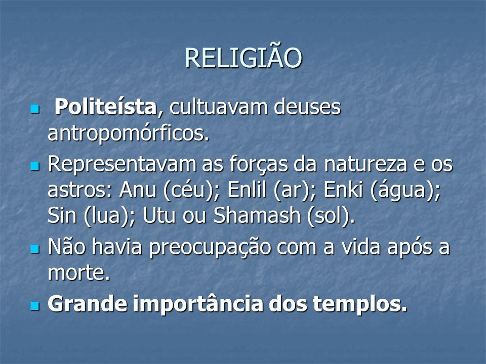 RELIGIÃO Politeísta, cultuavam deuses antropomórficos. Politeísta, cultuavam deuses antropomórficos. Representavam as forças da natureza e os astros:
