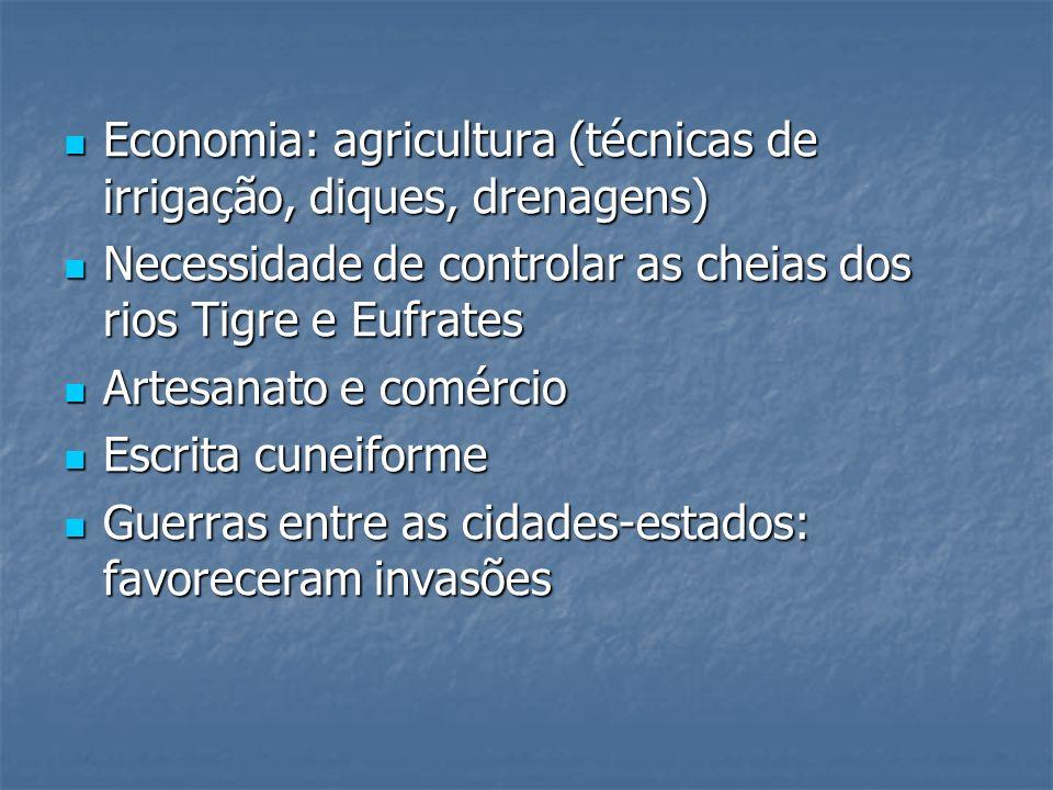 Economia: agricultura (técnicas de irrigação, diques, drenagens) Economia: agricultura (técnicas de irrigação, diques, drenagens) Necessidade de contr