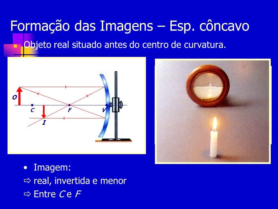 Exercícios Uma vela acesa é colocada em frente a um espelho convexo de distância focal 20cm, perpendicularmente ao seu eixo principal e a 20cm do seu vértice.