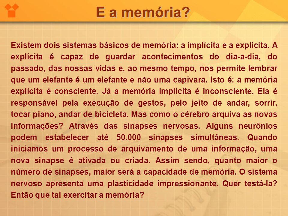 E a memória? Existem dois sistemas básicos de memória: a implícita e a explícita. A explícita é capaz de guardar acontecimentos do dia-a-dia, do passa