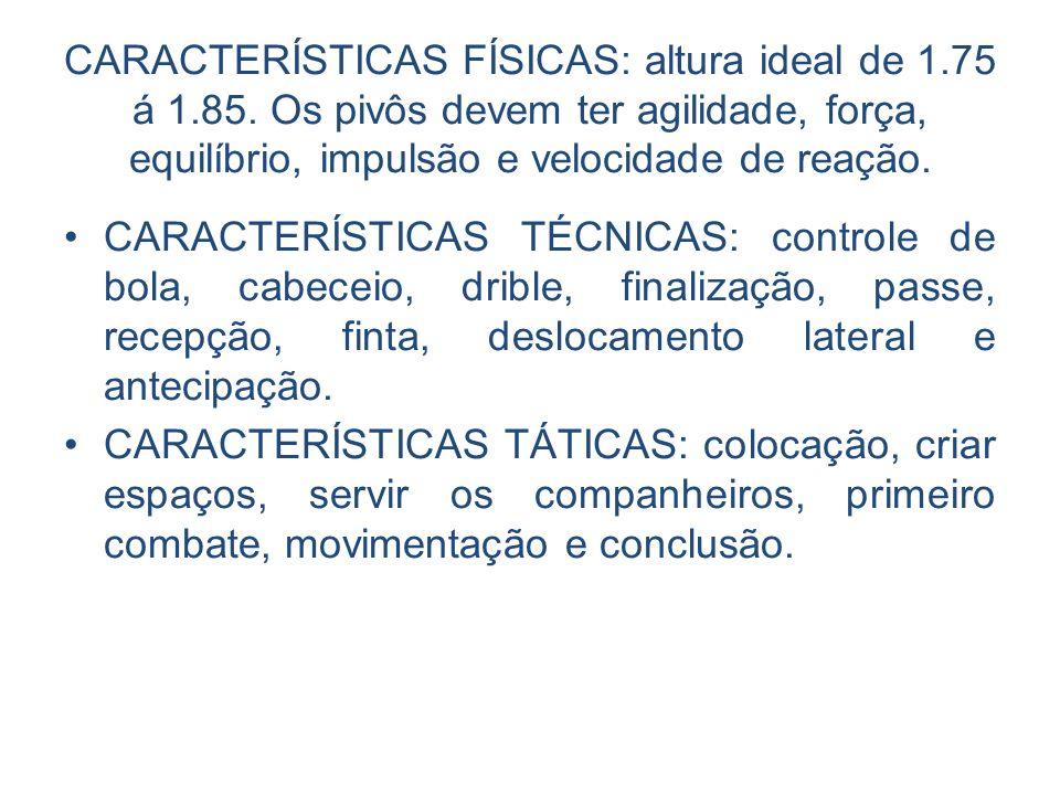 CARACTERÍSTICAS FÍSICAS: altura ideal de 1.75 á 1.85. Os pivôs devem ter agilidade, força, equilíbrio, impulsão e velocidade de reação. CARACTERÍSTICA