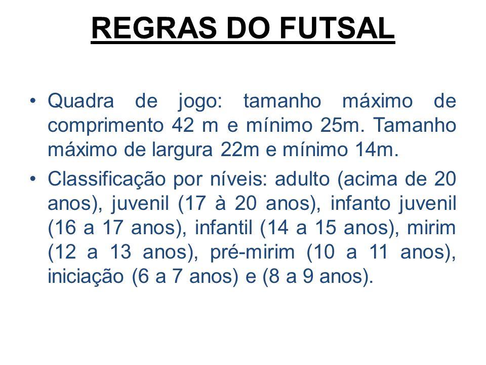 REGRAS DO FUTSAL Quadra de jogo: tamanho máximo de comprimento 42 m e mínimo 25m. Tamanho máximo de largura 22m e mínimo 14m. Classificação por níveis