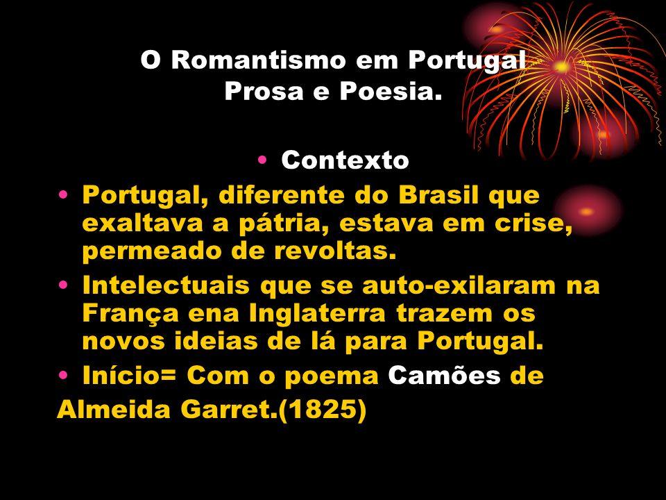 O Romantismo em Portugal Prosa e Poesia. Contexto Portugal, diferente do Brasil que exaltava a pátria, estava em crise, permeado de revoltas. Intelect