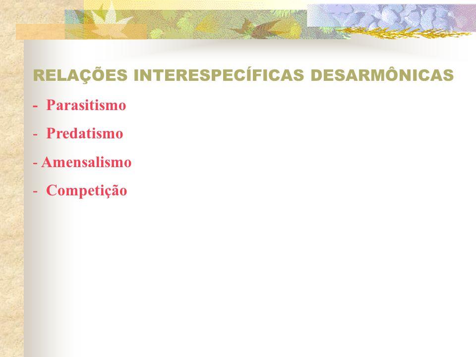 RELAÇÕES INTERESPECÍFICAS DESARMÔNICAS - Parasitismo - Predatismo - Amensalismo - Competição